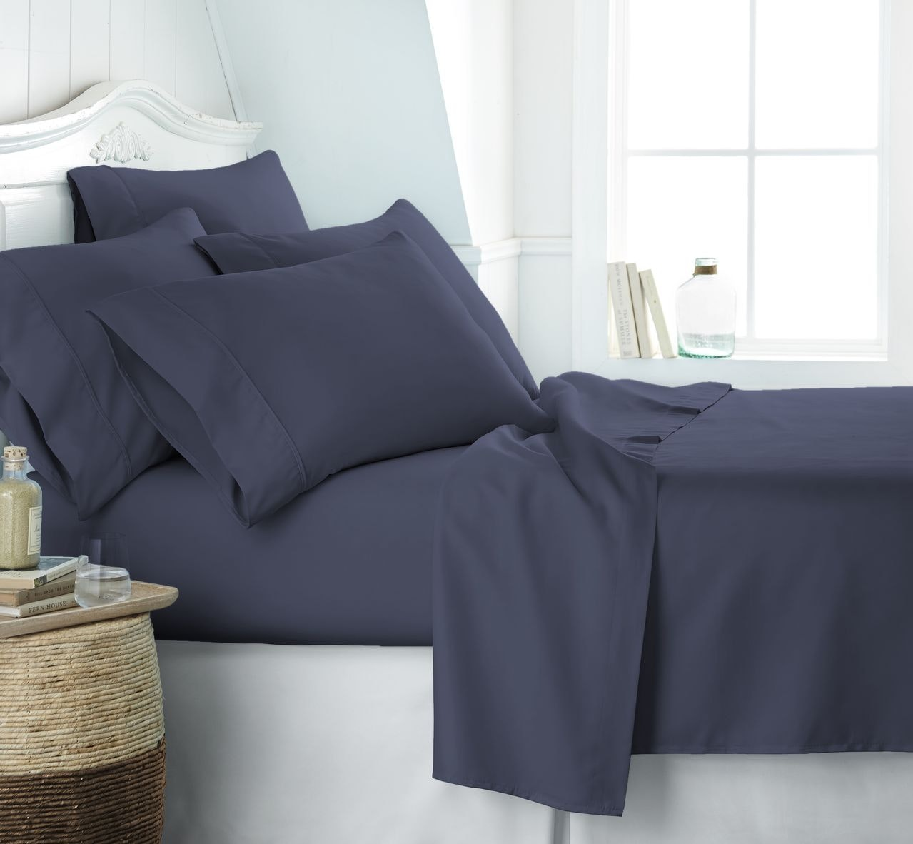 Luxury Linens™ Premium Ultra Soft 6 Piece Bed Sheet Set - Queen - Navy