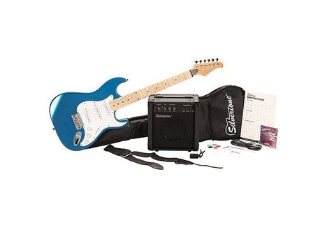 Silvertone SS10 Citation Electric Guitar Package, Candy Blue