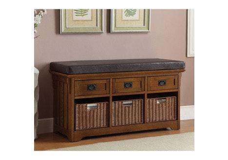 Transitional 3 Basket / 3 Drawer Bench, Brown