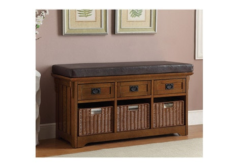 Transitional 3 Basket / 3 Drawer Bench, Brown