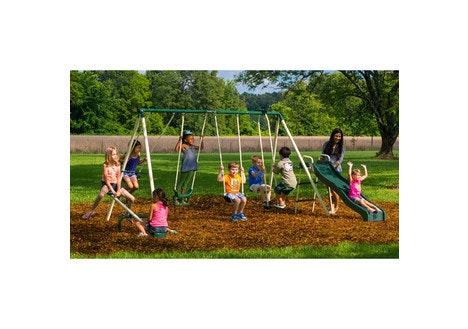 dealdash flexible flyer backyard swingin 39 fun metal swing set